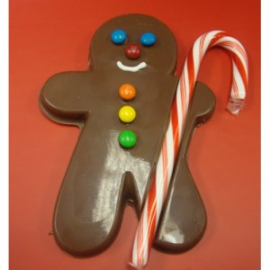 Chocolate Gignerbread Boy with a Candy Cane