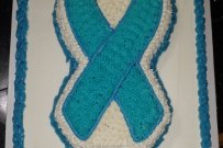 Blue Awareness Ribbon Cake